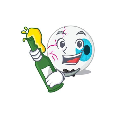 caricature design concept of eyeball cheers with bottle of beer