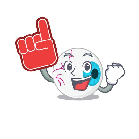 Eyeball in cartoon drawing character design with Foam finger Illustration