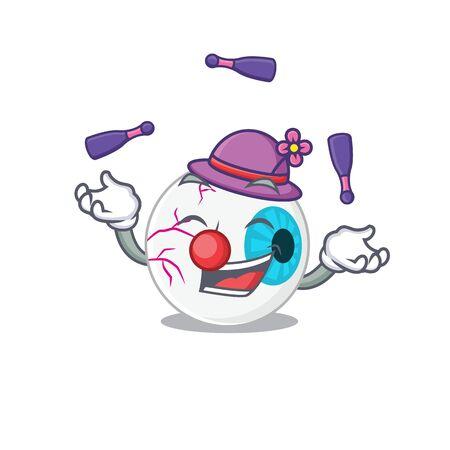 A eyeball cartoon design style succeed playing juggling Illustration