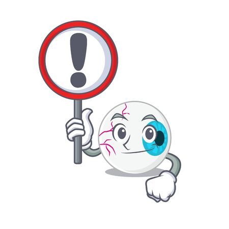A cartoon icon of eyeball with a exclamation sign board