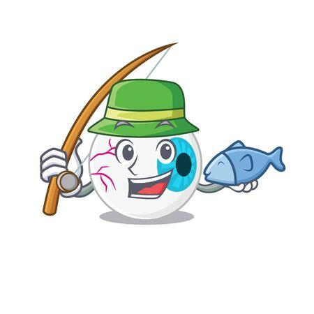 Cartoon design style of eyeball goes to fishing