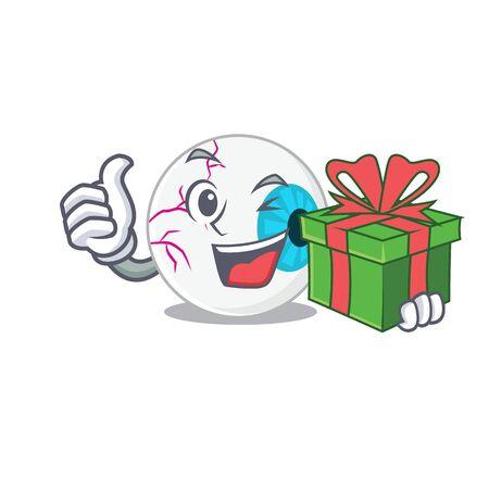 joyful eyeball cartoon character with a big gift box