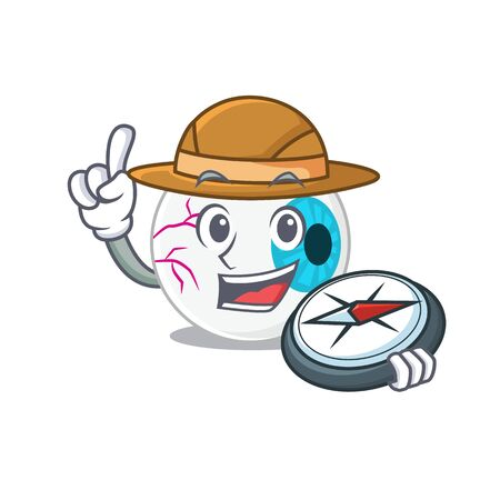 mascot design concept of eyeball explorer using a compass in the forest