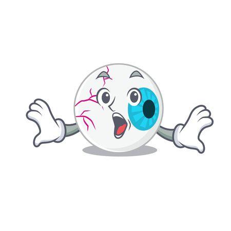 Eyeball mascot design concept having a surprised gesture Illustration