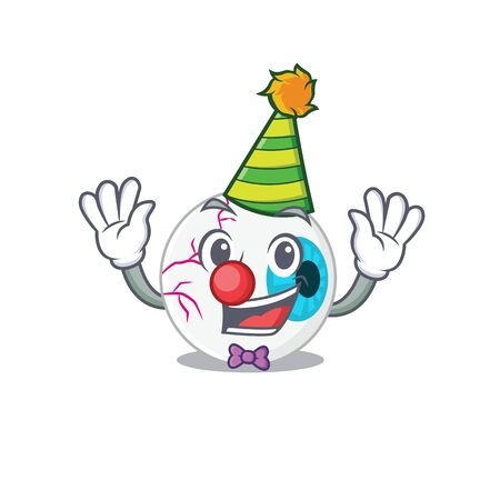 smiley clown eyeball cartoon character design concept
