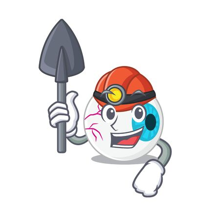 A cartoon picture of eyeball miner with tool and helmet