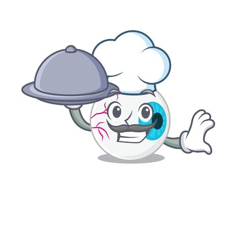 mascot design of eyeball chef serving food on tray Ilustrace
