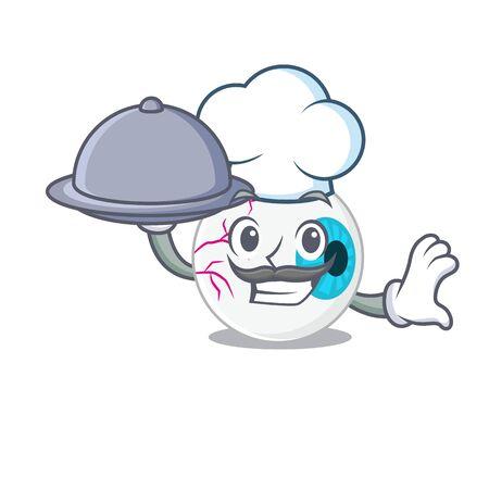 mascot design of eyeball chef serving food on tray Illustration