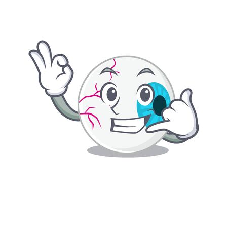 Caricature design of eyeball showing call me funny gesture