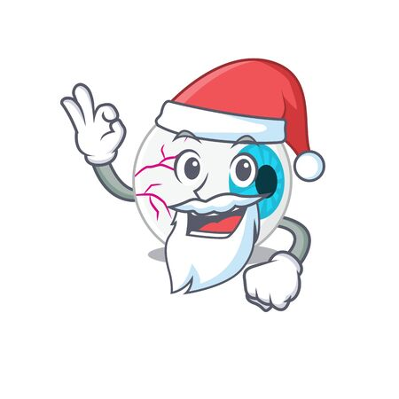 cartoon character of eyeball Santa having cute ok finger Illustration