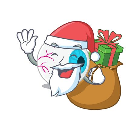 Cartoon design of eyeball Santa having Christmas gift