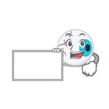 Cartoon character design of eyeball holding a board