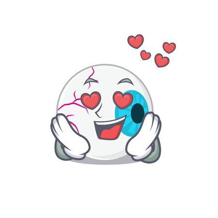 Romantic eyeball cartoon character has a falling in love eyes