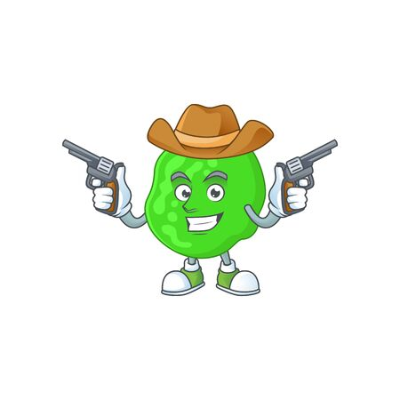 A masculine cowboy cartoon drawing of sarcina ventriculli holding guns