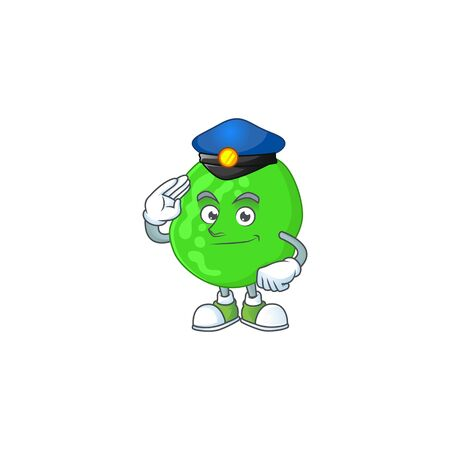 A dedicated Police officer of sarcina ventriculli cartoon drawing concept. Vector illustration