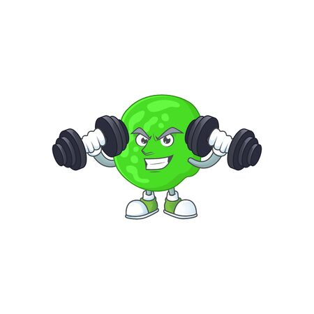 Caricature picture of sarcina ventriculli exercising with barbells on gym. Vector illustration