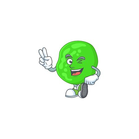 smiling sarcina ventriculli cartoon mascot style with two fingers. Vector illustration