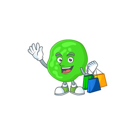 Happy rich sarcina ventriculli Caricature picture with shopping bags. Vector illustration Ilustração Vetorial