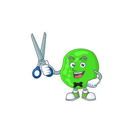 A picture of sarcina ventriculli Barber cartoon character working with scissor Ilustração