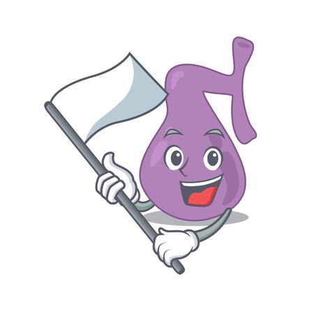 A heroic gall bladder mascot character design with white flag. Vector illustration