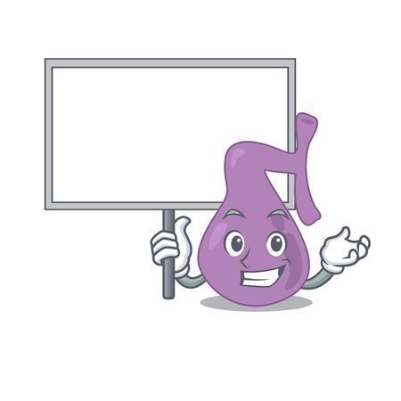 Cartoon picture of gall bladder mascot design style carries a board. Vector illustration Illustration
