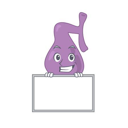 Gall bladder cartoon design style standing behind a board. Vector illustration