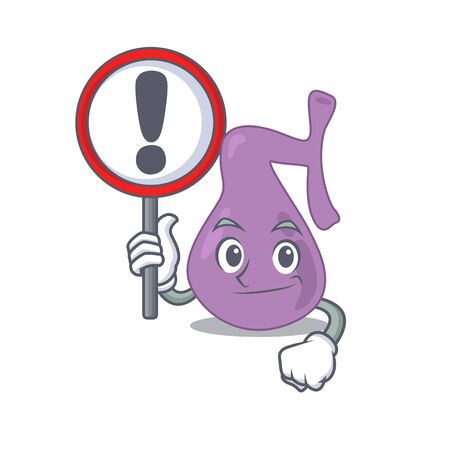 A cartoon icon of gall bladder with a exclamation sign board. Vector illustration