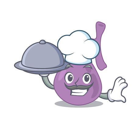 mascot design of gall bladder chef serving food on tray. Vector illustration Ilustrace