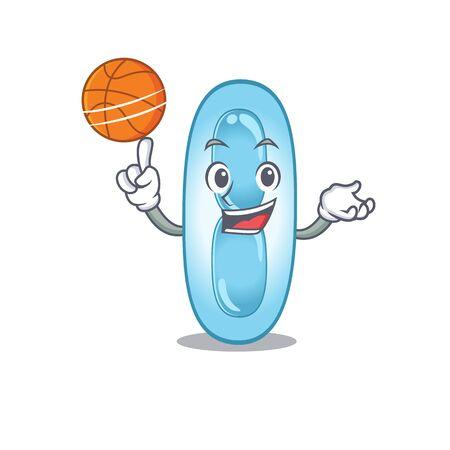 Sporty cartoon mascot design of klebsiella pneumoniae with basketball. Vector illustration Çizim