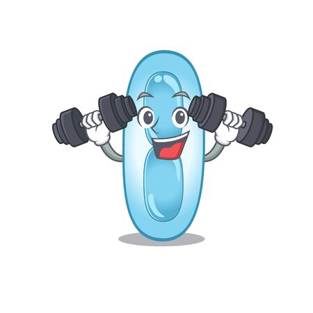 Klebsiella pneumoniae mascot design feels happy lift up barbells during exercise. Vector illustration