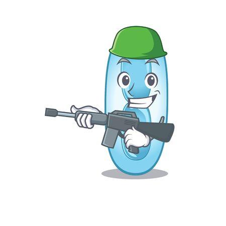 A cartoon picture of Army klebsiella pneumoniae holding machine gun. Vector illustration