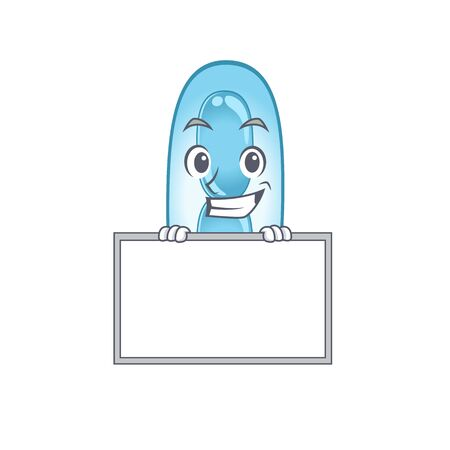 Klebsiella pneumoniae cartoon design style standing behind a board. Vector illustration