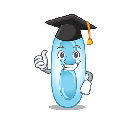 Happy proud of klebsiella pneumoniae caricature design with hat for graduation ceremony. Vector illustration