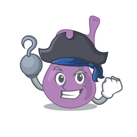 Gall bladder cartoon design in a Pirate character with one hook hand Illustration