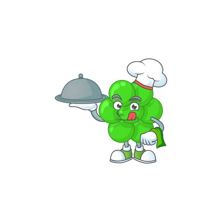 A staphylococcus aureus chef cartoon mascot design with hat and tray. Vector illustration