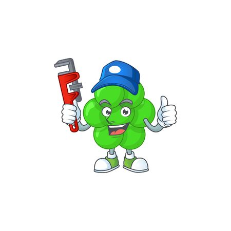 Staphylococcus aureus Cartoon drawing concept work as smart Plumber. Vector illustration Illustration