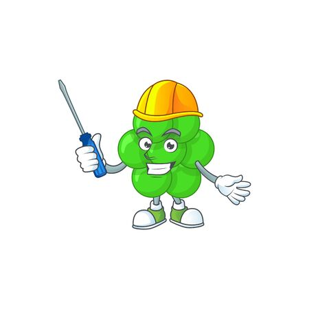 A cartoon image of staphylococcus aureus in a automotive mechanic character. Vector illustration