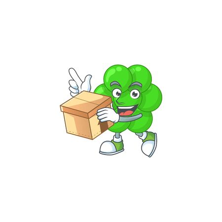 cartoon design style of staphylococcus aureus having gift box. Vector illustration