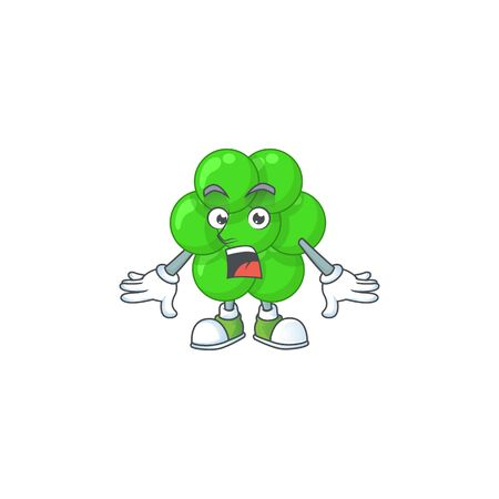 A caricature concept design of staphylococcus aureus with a surprised gesture. Vector illustration