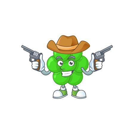 A masculine cowboy cartoon drawing of staphylococcus aureus holding guns. Vector illustration Illustration