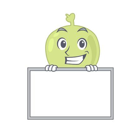 Lymph node cartoon design style standing behind a board