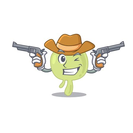 Cartoon character cowboy of lymph node with guns