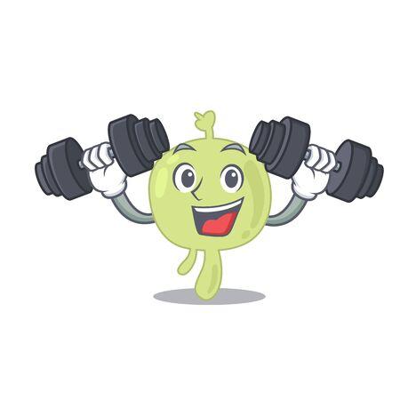 Lymph node mascot design feels happy lift up barbells during exercise