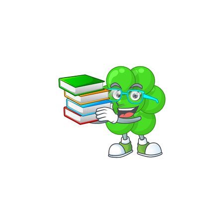 A mascot design of staphylococcus aureus student having books. Vector illustration Illustration
