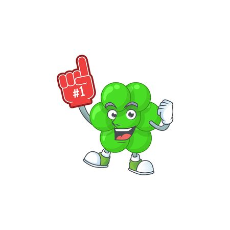 Staphylococcus aureus Cartoon character design style with a red foam finger. Vector illustration Illustration