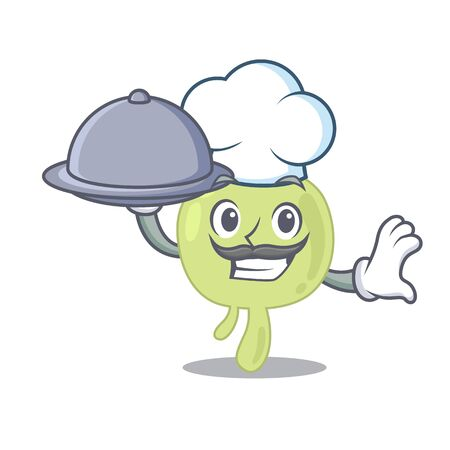 mascot design of lymph node chef serving food on tray