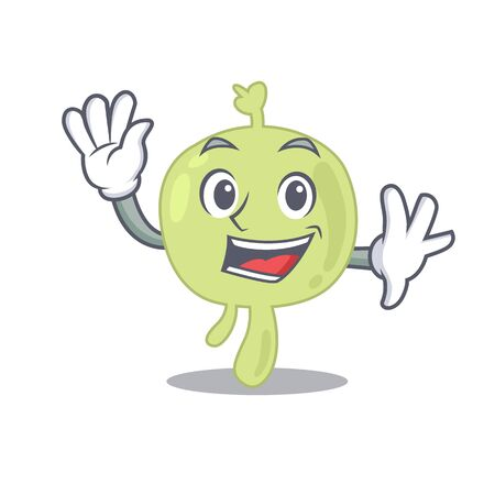 A charming lymph node mascot design style smiling and waving hand