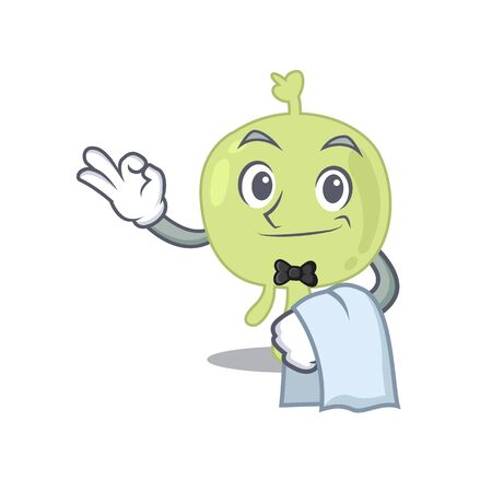 A cartoon picture of lymph node waiter with a white napkin Ilustrace
