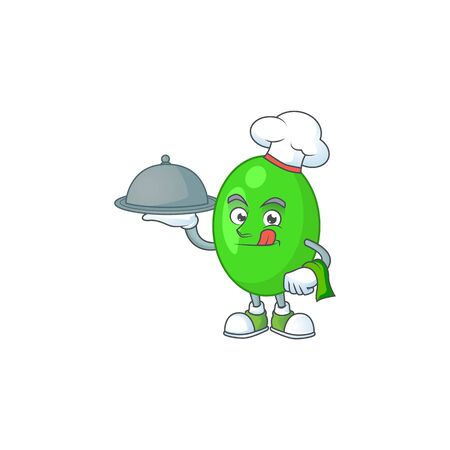 A tetrad chef cartoon mascot design with hat and tray. illustration