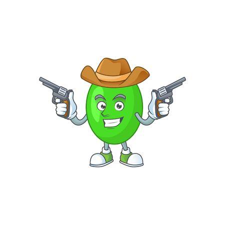 A masculine cowboy cartoon drawing of tetrad holding guns. Vector illustration